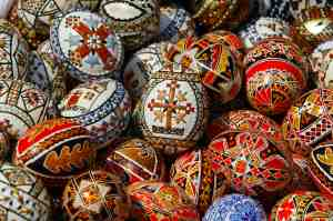 Traditionally hand painted eggs for Easter are displayed for sale during a Palm Sunday fair at the Village Museum in Bucharest