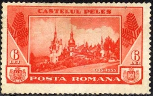 Stamp from 1933 with Peles Castle